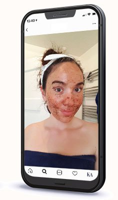 Amy with Coffee Face Scrub Selfie