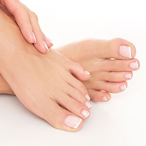 Luxury Pedicure - Close up of recently pedicured feet.
